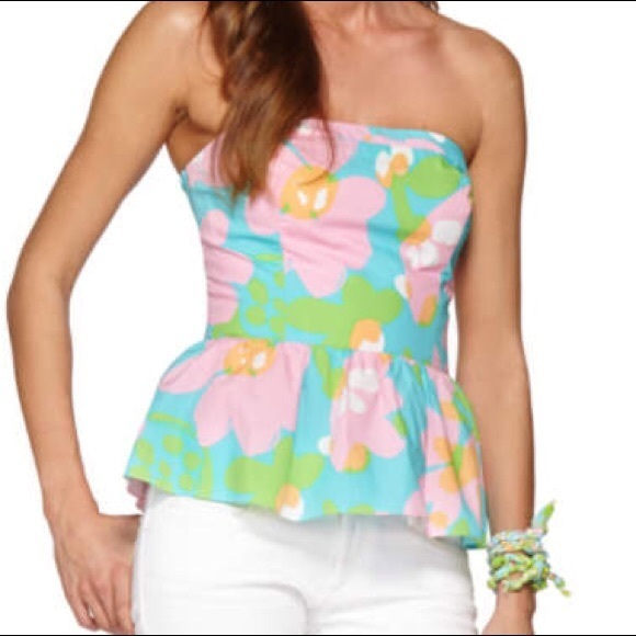 Lilly Pulitzer Shorely Blue Mojo Floral Peplum Top